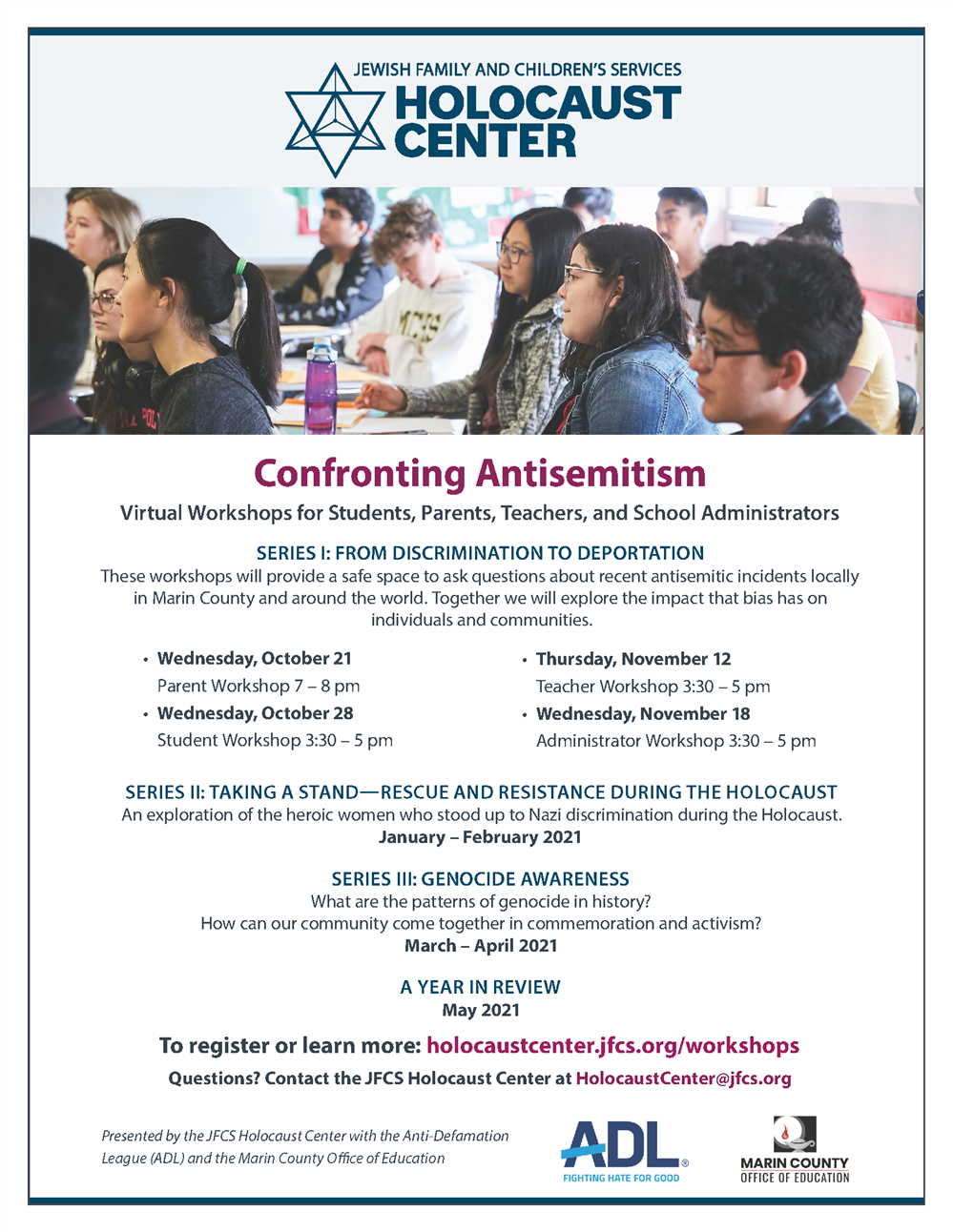 Image of Confronting Antisemitism Series Flyer