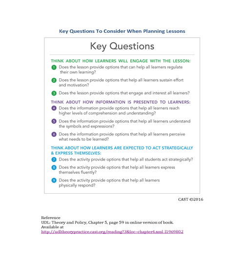 Key Questions to consider when planning lessons