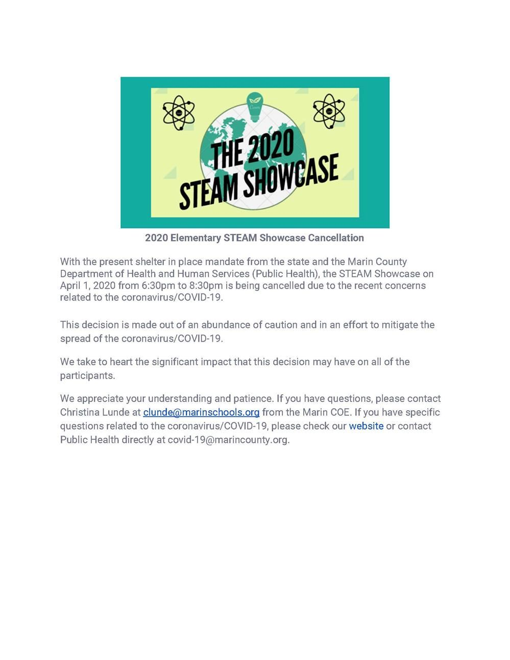 Image of STEAM Showcase Cancellation Letter