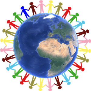 multi-colored cartoon children holding hands around an image of the world