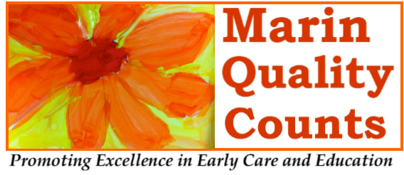 Logo for Marin Quality Counts: Flower image with text: Marin Quality Counts Promoting Excellence in Ear'y Care and Education
