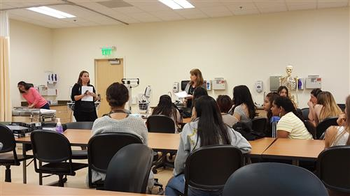 Medical assisting students in class