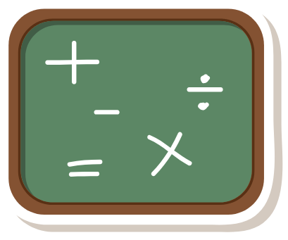 Image of a chalk board with mathematical operations Image