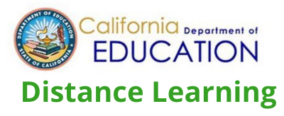 Image of the words California Department of Education Distance Learning written in text