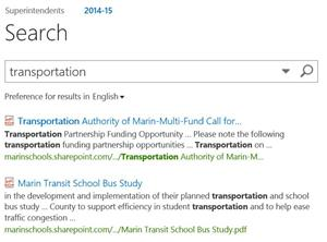 An image of the Search results using the word transportation in Sharepoint