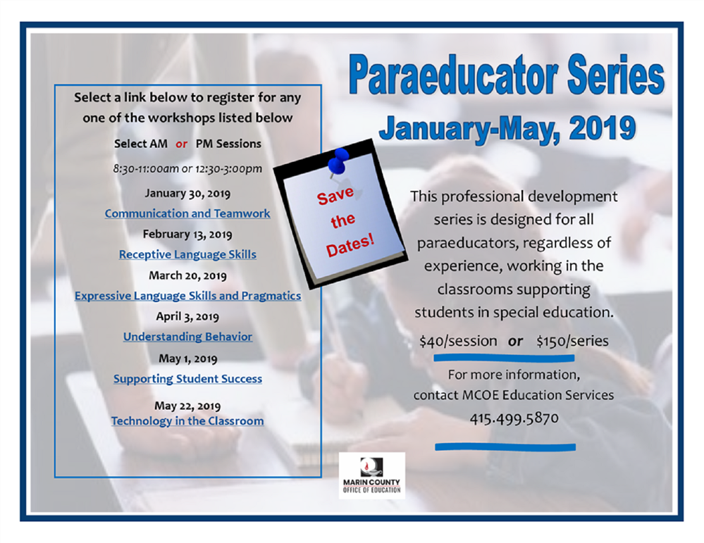 Image of the Paraeducator series event flyer