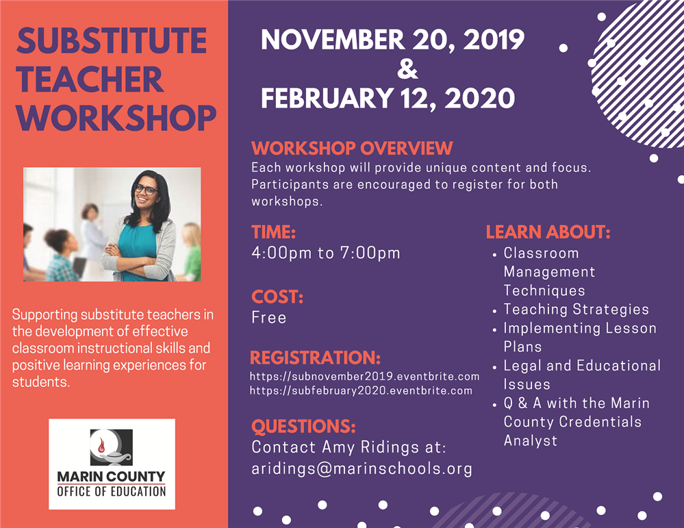 Image of the Substitute Teacher Workshop Flyer