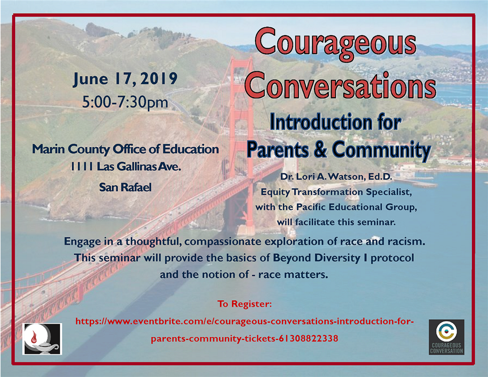 Courageous Conversations: Introduction to Parents & Community event flyer