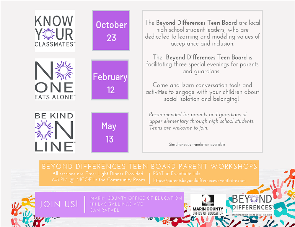 Image of the Beyond Difference: Teen Board Parent Workshops flyer