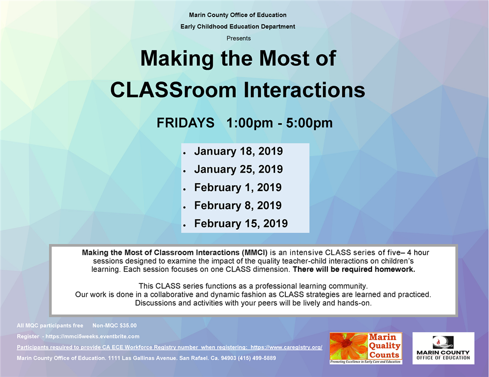 Image of the Making the Most of CLASSroom Interactions workshop flyer