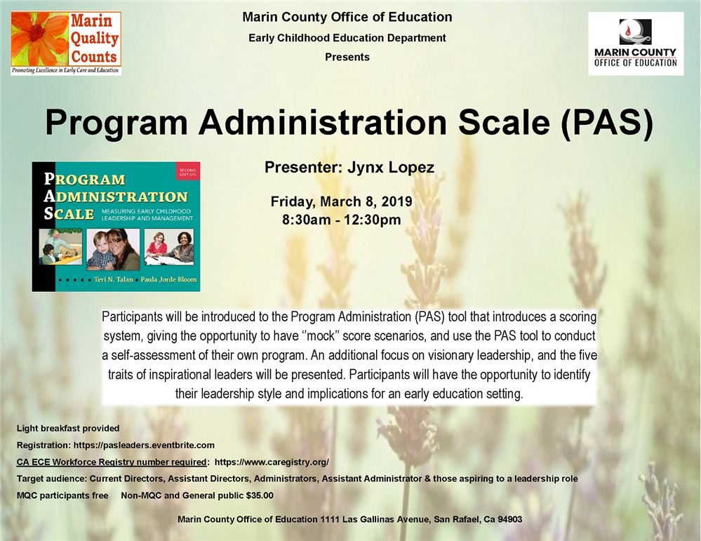 Image of the Program Administration Scale (PAS) workshop flyer