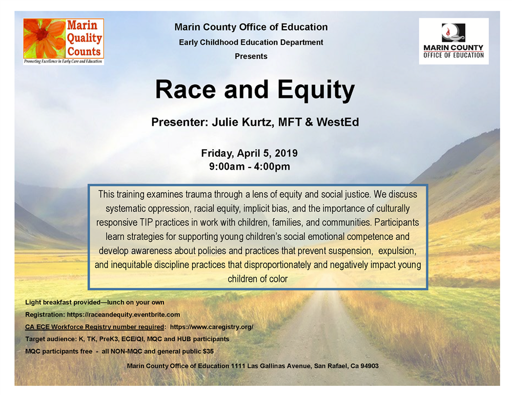 Image of the Race and Equity workshop flyer