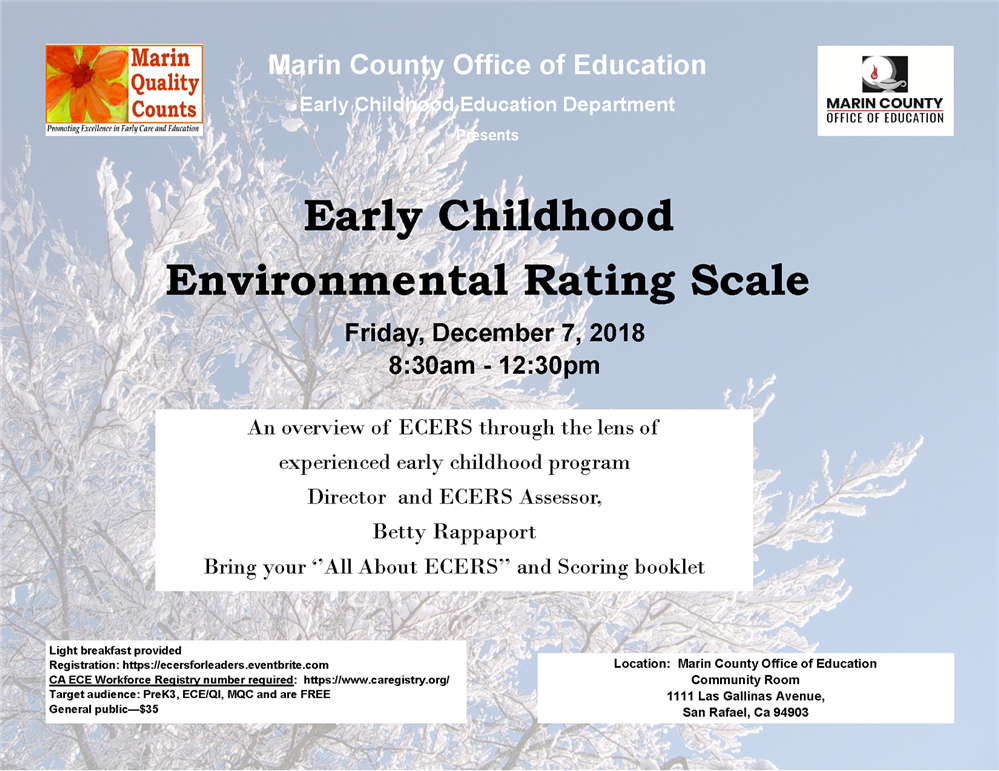 Image of the Early Childhood Environmental Rating Scale workshop flyer