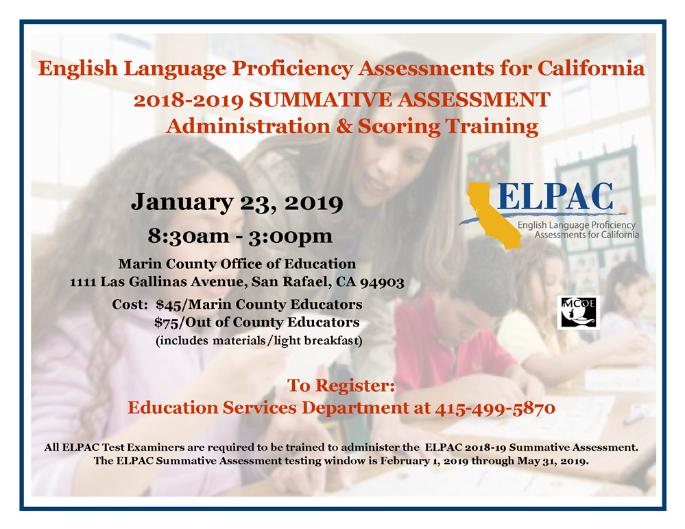 Image of the ELPAC Training flyer