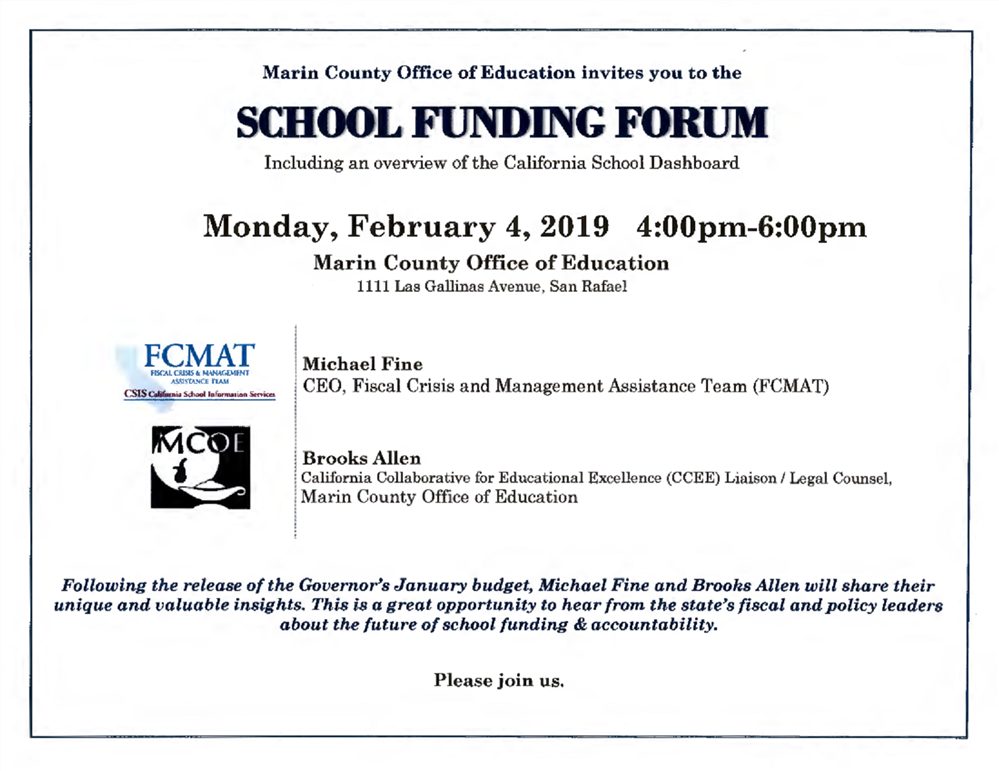 Image of the School Funding Forum event flyer
