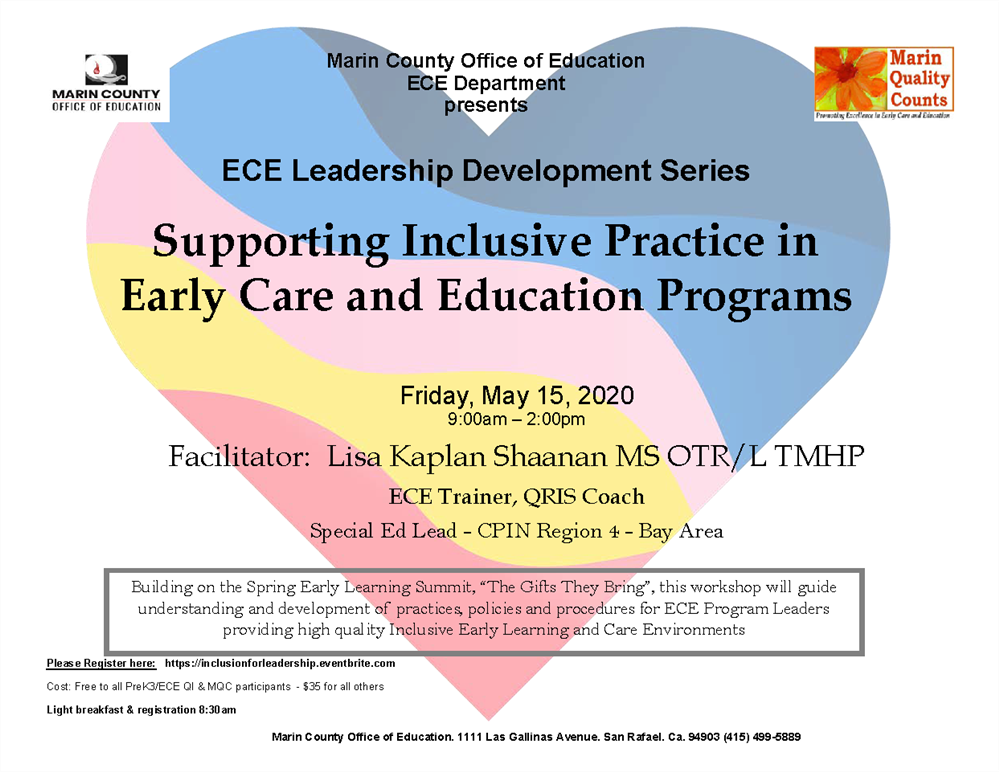 Image of the Supporting Inclusive Practice in ECE Programs workshop flyer