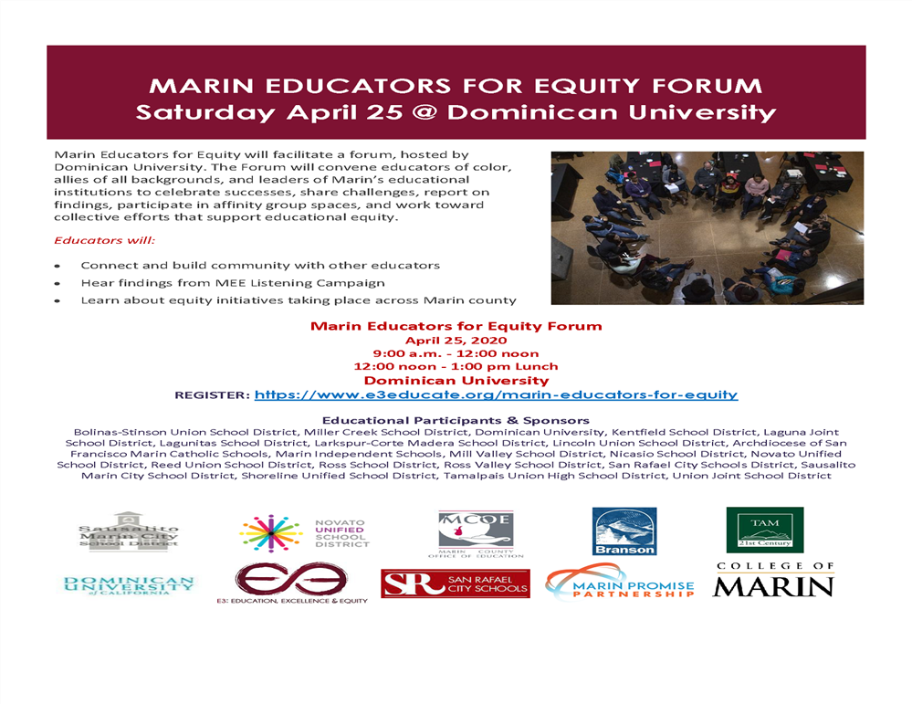Image of the Marin Educators for Equity workshop flyer