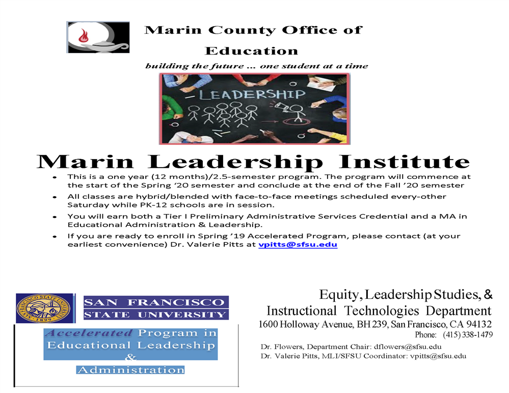 Image of the Marin County Leadership Institute workshop flyer