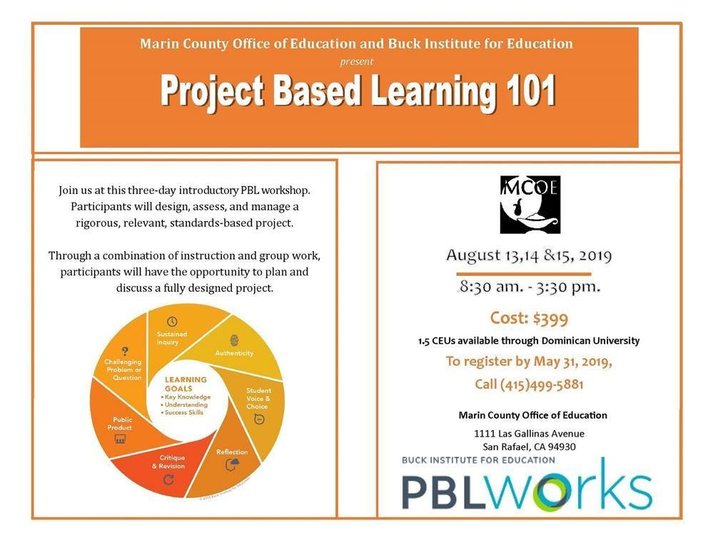 Project Based Learning 101 event flyer