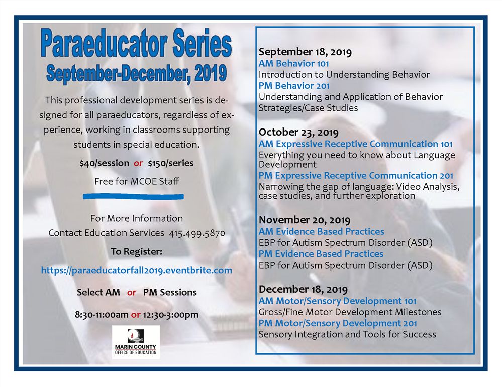 Image of the Paraeducator Series workshop flyer