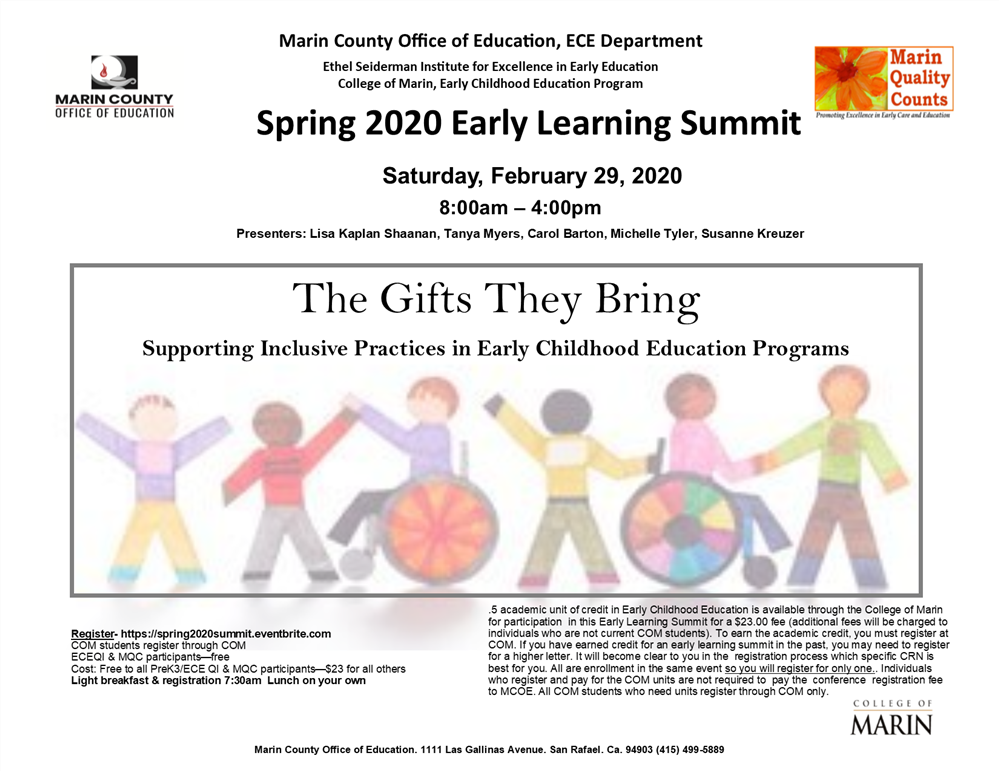 Spring Early Learning Summit 2020 workshop flyer