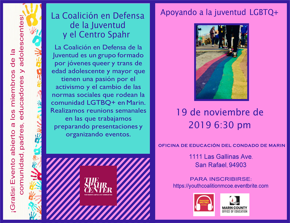 Image of the Supporting LGBTQ + Youth Workshop flyer in Spanish