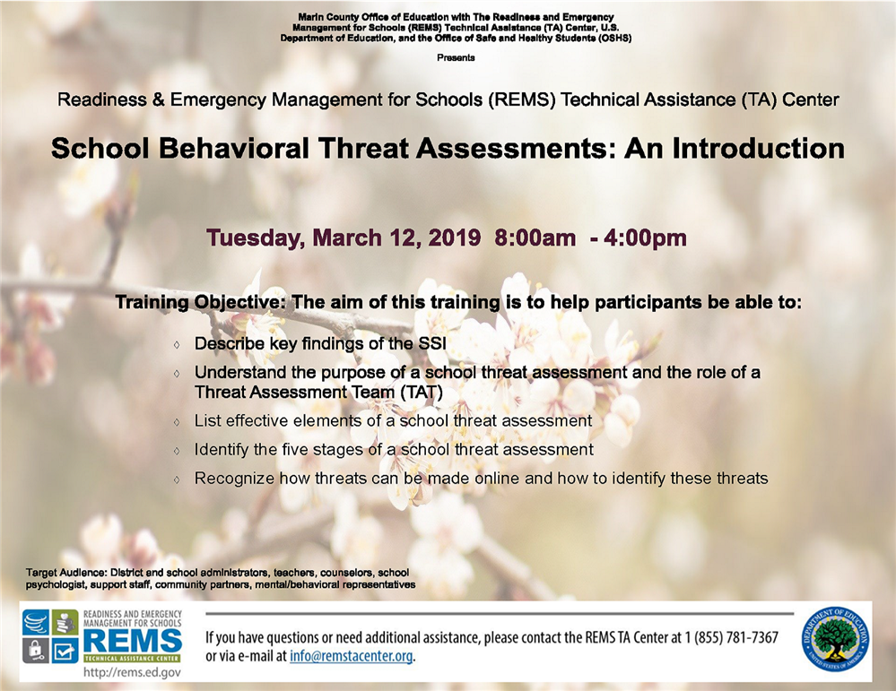 An image of the School Behavioral Threat Assessment event flyer