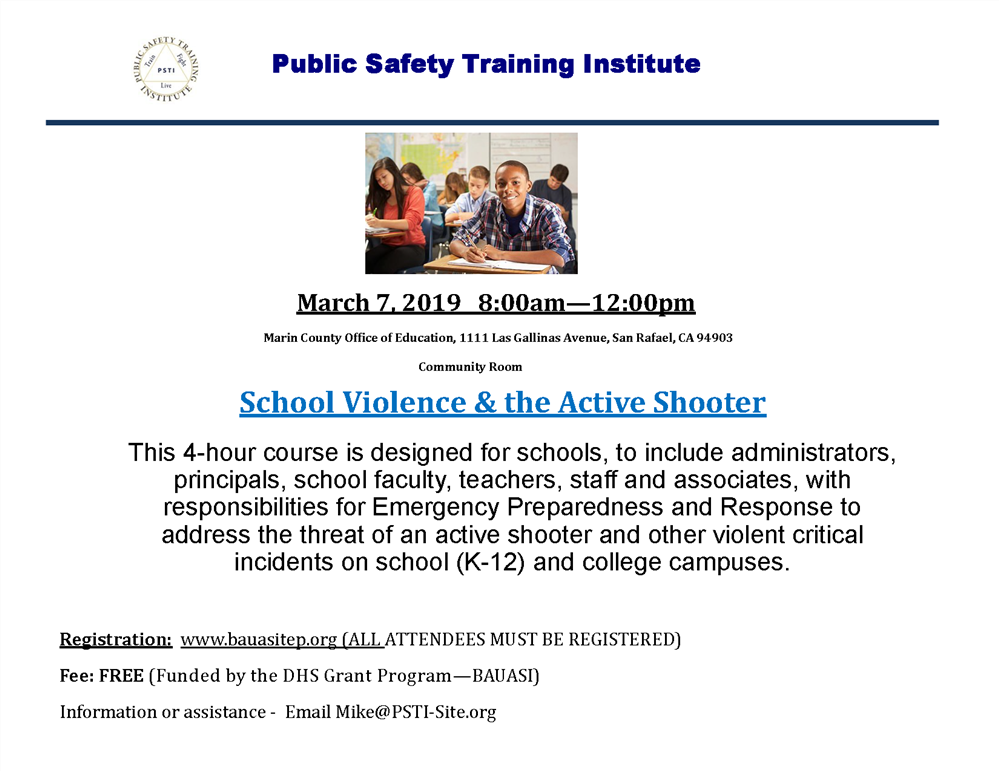 Image of the School Violence & the Active Shooter event flyer