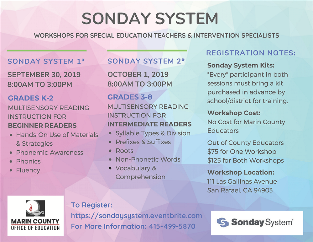 Sonday System Workshop Flyer