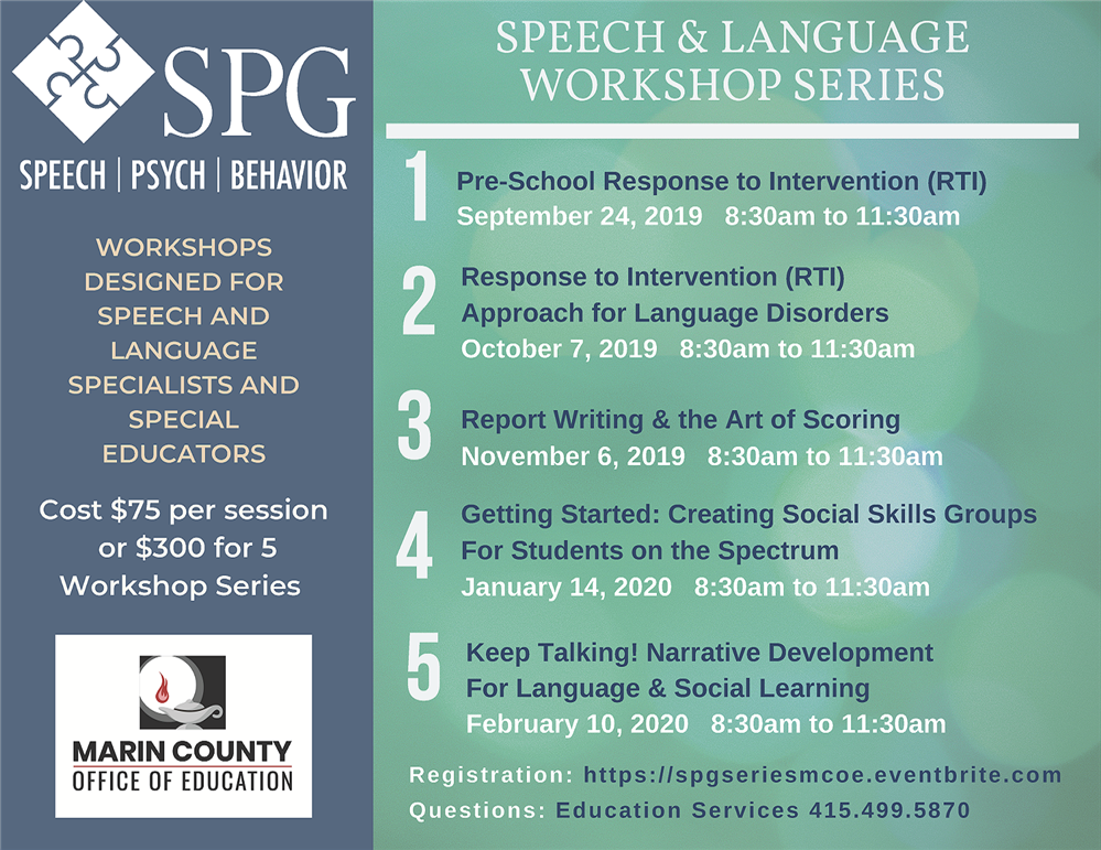 Image of the Speech and Language Workshop Series flyer