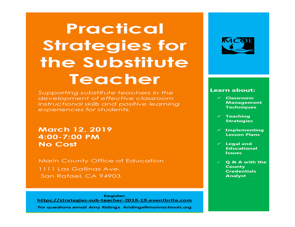 Image of the Practical Strategies for the Substitute Teacher workshop flyer