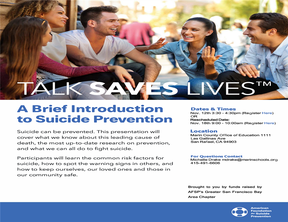 Image of the Talk Saves Lives workshop Flyer