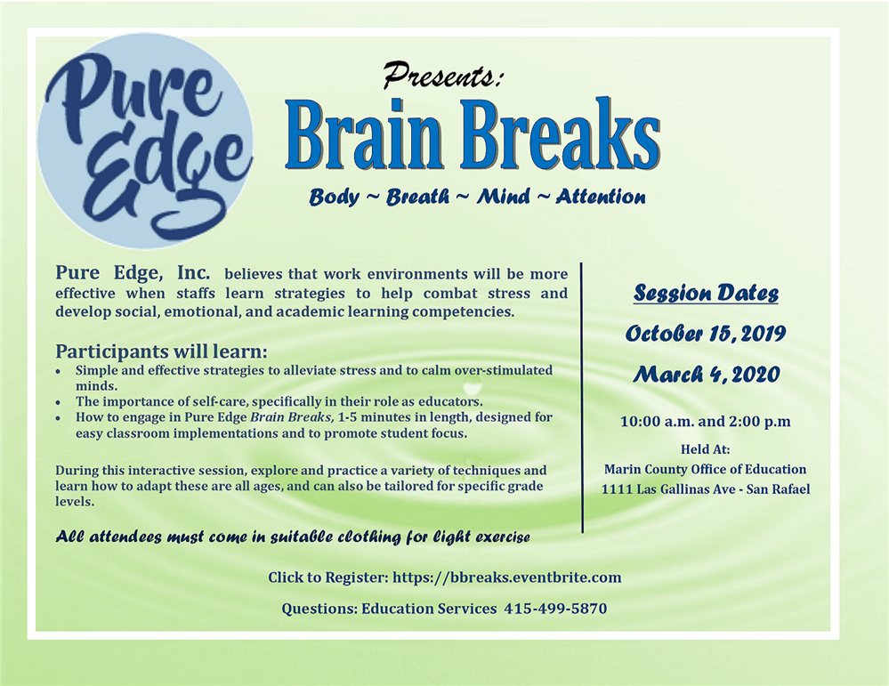Brain Breaks workshop flyer
